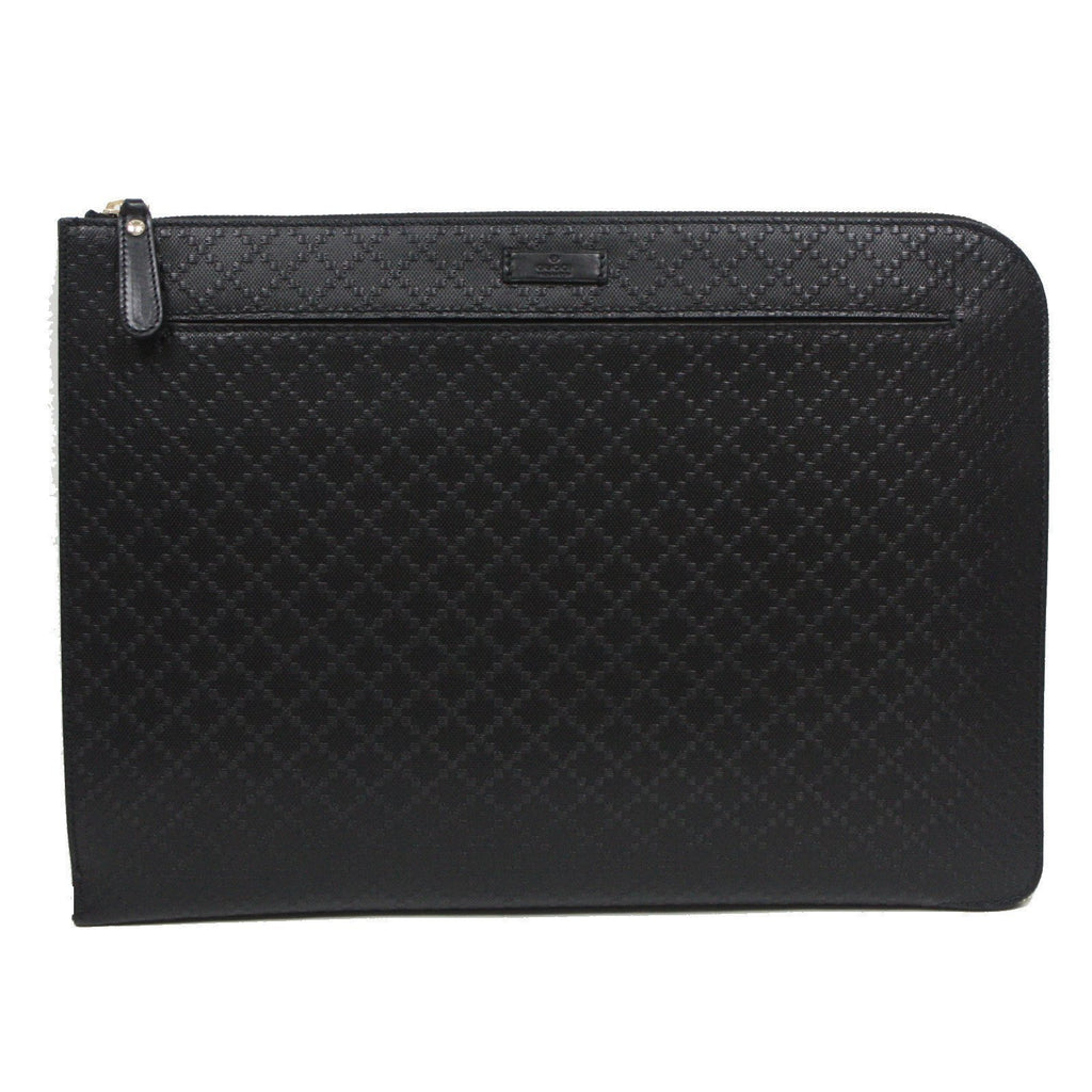 Gucci Unisex Diamante Midnight Black Designer Leather Portfolio Bag 368564 at_Queen_Bee_of_Beverly_Hills