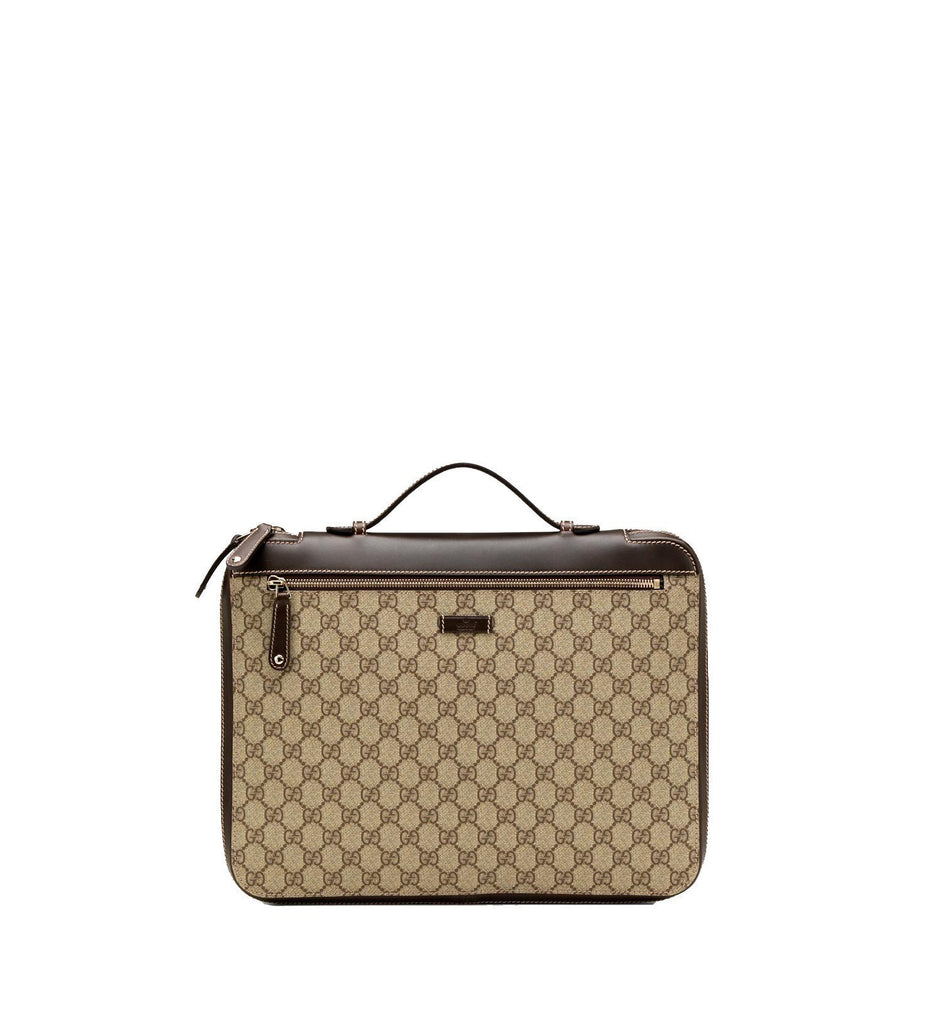 Gucci Unisex Original GG Supreme Beige Canvas Laptop Case Briefcase 267919 at_Queen_Bee_of_Beverly_Hills