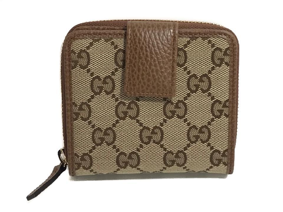 Gucci Women's Beige Original GG Canvas Brown Leather Trim French Flap Wallet 346056 at_Queen_Bee_of_Beverly_Hills