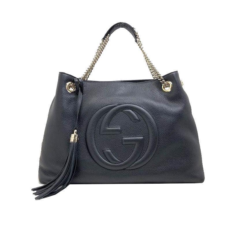 Gucci Women's Black Cellarius GG Logo Leather Soho Satchel Chain Handbag 308982 at_Queen_Bee_of_Beverly_Hills
