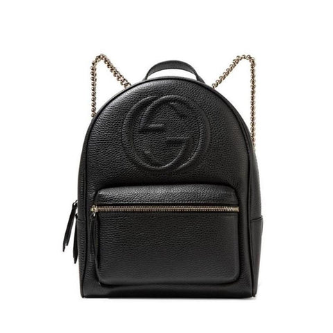 Gucci Women's Black GG Soho Logo Leather Backpack Chain Straps 536192 at_Queen_Bee_of_Beverly_Hills