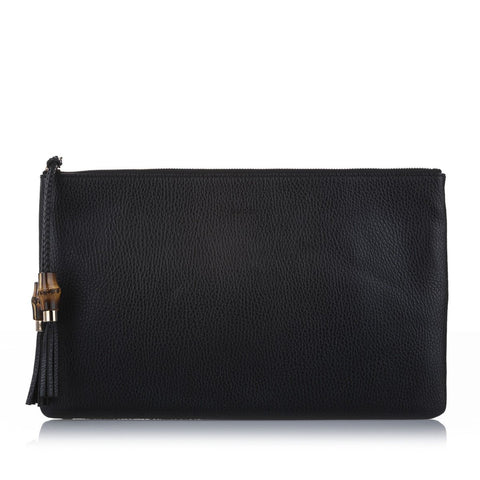 Gucci Women's Black Large Bamboo Clutch 449653 at_Queen_Bee_of_Beverly_Hills