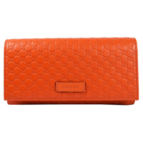 Gucci Women's Bright Orange Microguccissima Continental Flap Wallet 449396 at_Queen_Bee_of_Beverly_Hills