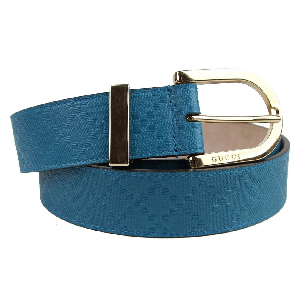 Gucci Women's Bright Tourquise Blue Diamante Leather Belt Size 40 354382 at_Queen_Bee_of_Beverly_Hills