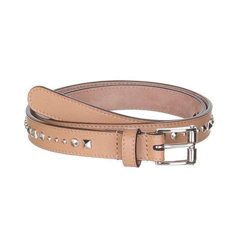 Gucci Women's Classic Beige Silver Studded Leather Slim Belt Size: 95/38 380561 at_Queen_Bee_of_Beverly_Hills