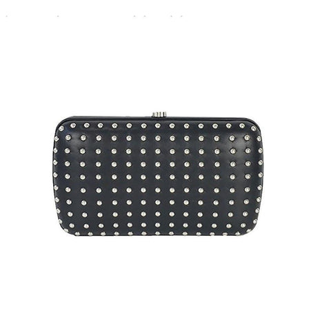 Gucci Women's Classic Black Leather Silver Studded Evening Clutch Small 310005 at_Queen_Bee_of_Beverly_Hills