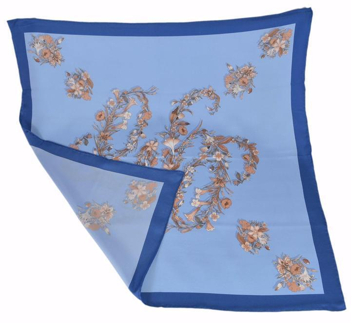 Gucci Women's Classic Blue Floral Bandana Scarf 100% Silk Luxury Scarf 394545 at_Queen_Bee_of_Beverly_Hills