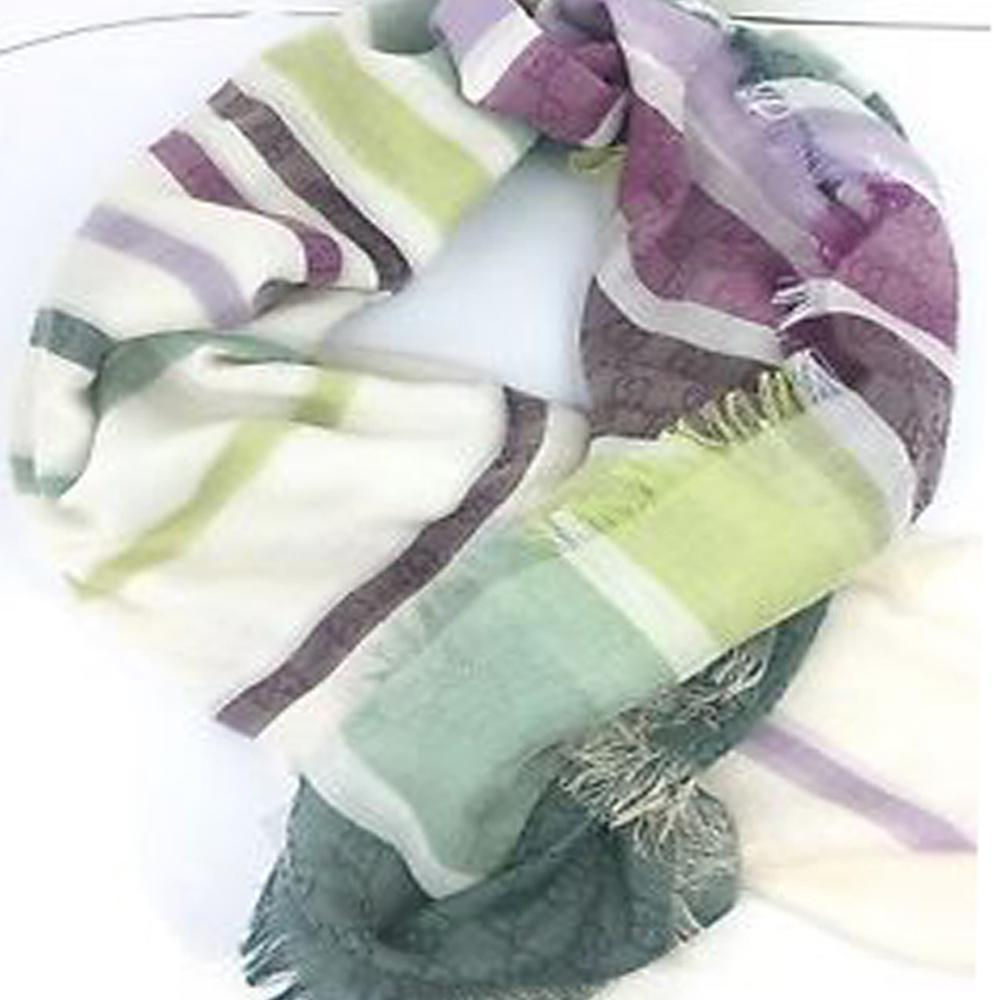 Gucci Women's Classic Green Striped Cotton Luxury Scarf 393979 at_Queen_Bee_of_Beverly_Hills