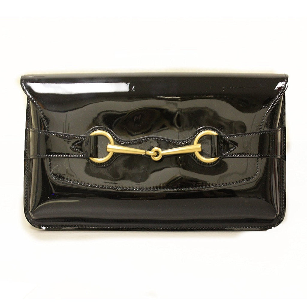 Gucci women's classic Horsebit Black Patent Leather Clutch Bag 317637 at_Queen_Bee_of_Beverly_Hills