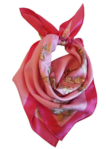 Gucci Women's Classic Pink Floral Bandanna Luxury Scarf 394545 at_Queen_Bee_of_Beverly_Hills