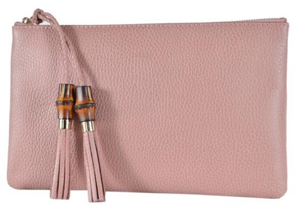 Gucci Women's Dollar Calf Bamboo Detailed Pink Pebbled Leather Clutch 449652 at_Queen_Bee_of_Beverly_Hills