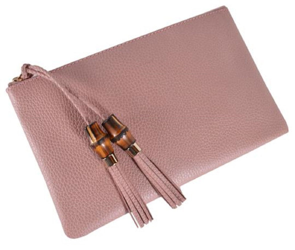 Gucci Women's Dollar Calf Bamboo Detailed Pink Pebbled Leather Clutch at_Queen_Bee_of_Beverly_Hills
