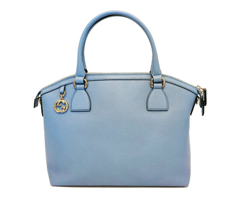 Gucci Women's GG Charm Blue Leather Medium Convertible Dome Bag 449651 at_Queen_Bee_of_Beverly_Hills