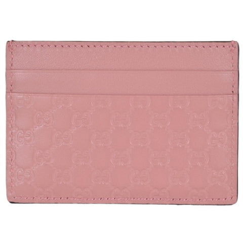 Gucci Women's GG Guccissima Leather Card Holder Wallet Pink 476010 at_Queen_Bee_of_Beverly_Hills