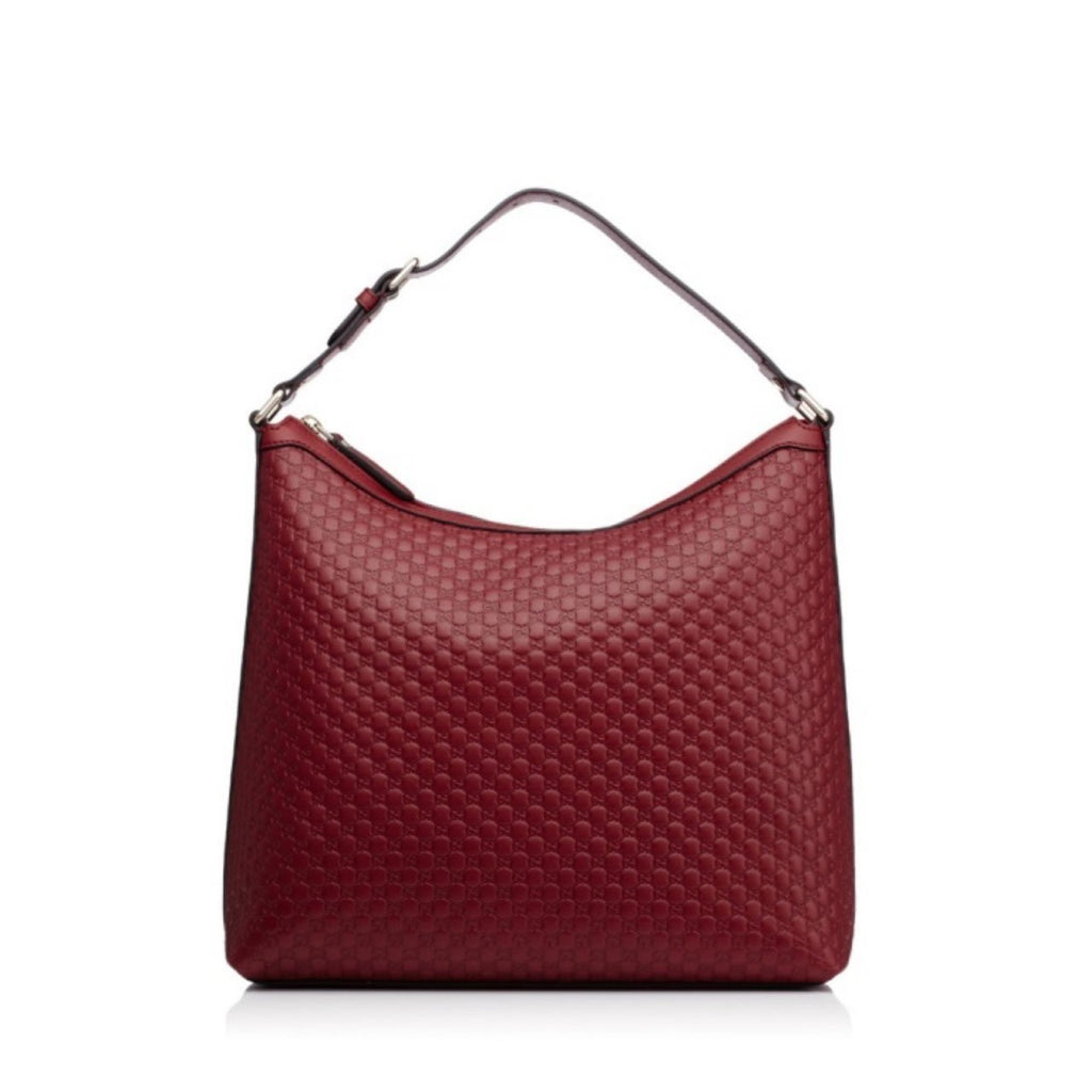 Gucci Women's GG Microguccissma Soft Leather Red Medium Hobo Tote 449732 at_Queen_Bee_of_Beverly_Hills
