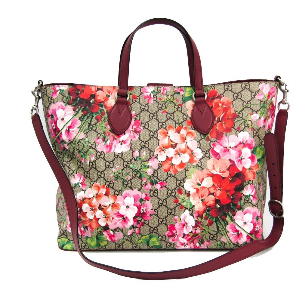 Gucci Women's GG Supreme Canvas Logo Blooms Pink Burgundy Shopping Tote 453705 at_Queen_Bee_of_Beverly_Hills
