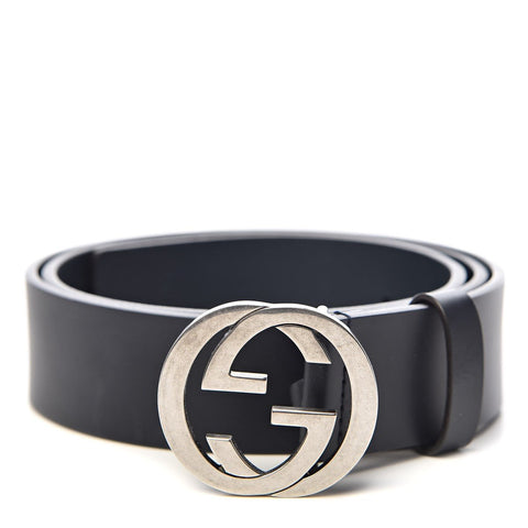Gucci Women's Interlocking G Dark Blue Leather Belt Size 85/34 546389 at_Queen_Bee_of_Beverly_Hills