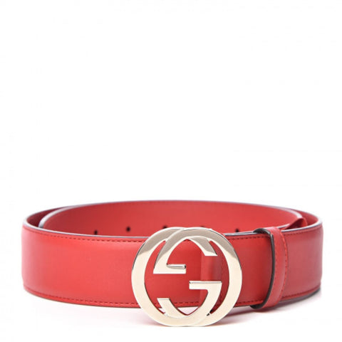 Gucci Women's Interlocking GG Red Leather Belt Size 90/36 546389 at_Queen_Bee_of_Beverly_Hills