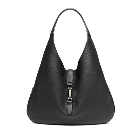 Gucci Women's Jackie Soft Black Grained Leather Grand Prix Hobo Handbag 362968 at_Queen_Bee_of_Beverly_Hills