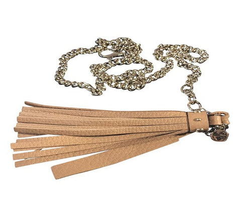 Gucci Women's Leather Tassel Gold Chain Belt Camelia Beige Size (38) 388992 at_Queen_Bee_of_Beverly_Hills