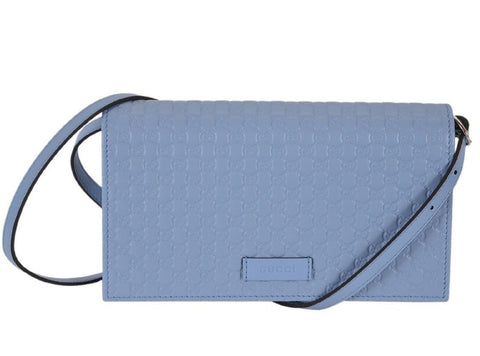 Gucci Women's Light Blue Leather Crossbody Micro GG Guccissima Mini Wallet Bag 466507 at_Queen_Bee_of_Beverly_Hills