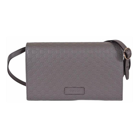Gucci Women's Microguccissima Grey Wallet Crossbody 466507 at_Queen_Bee_of_Beverly_Hills