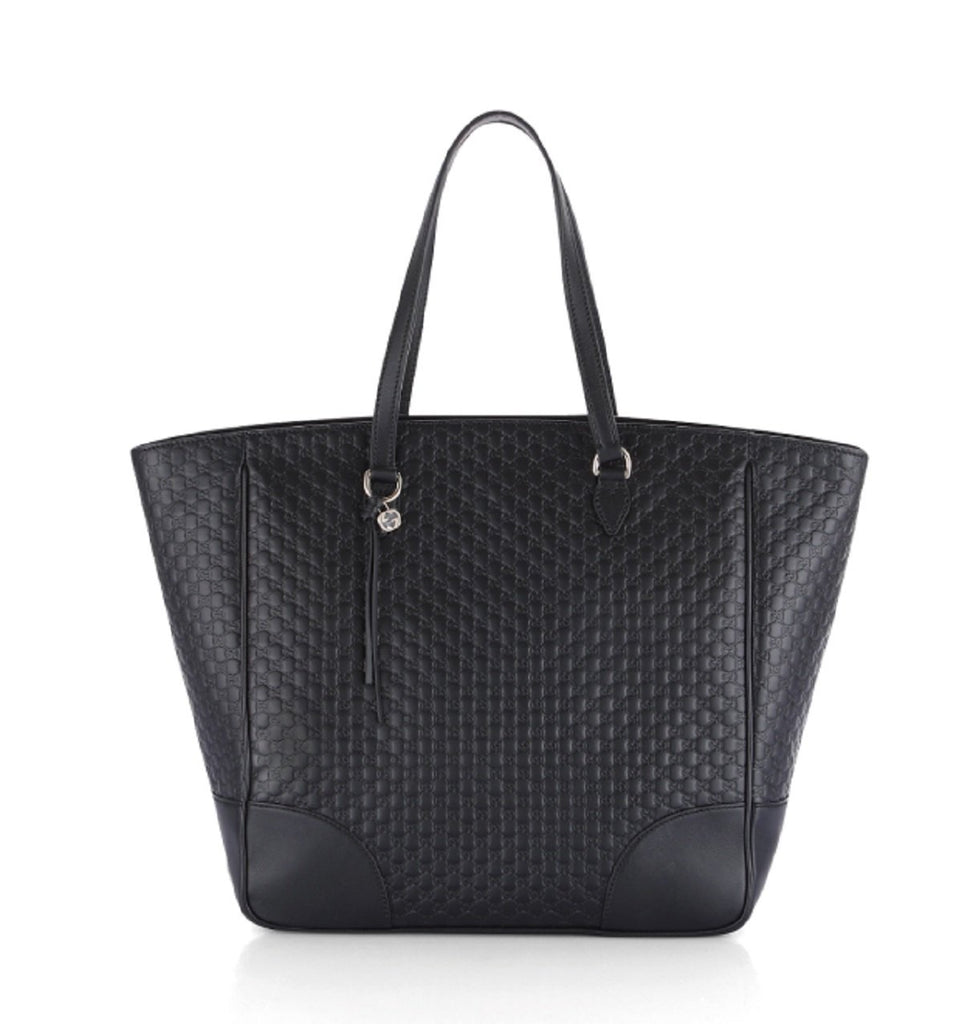Gucci Women's Microguccissma Soft Calf Leather Black Large Top Zip Tote 449242 at_Queen_Bee_of_Beverly_Hills