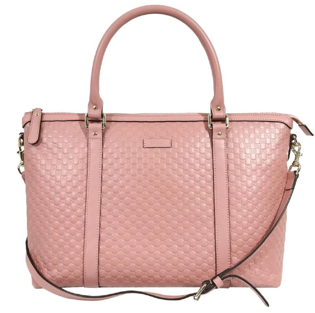 Gucci Women's Microguccissma Soft Calf Leather Light Pink Medium Top Zip Tote 449655 at_Queen_Bee_of_Beverly_Hills