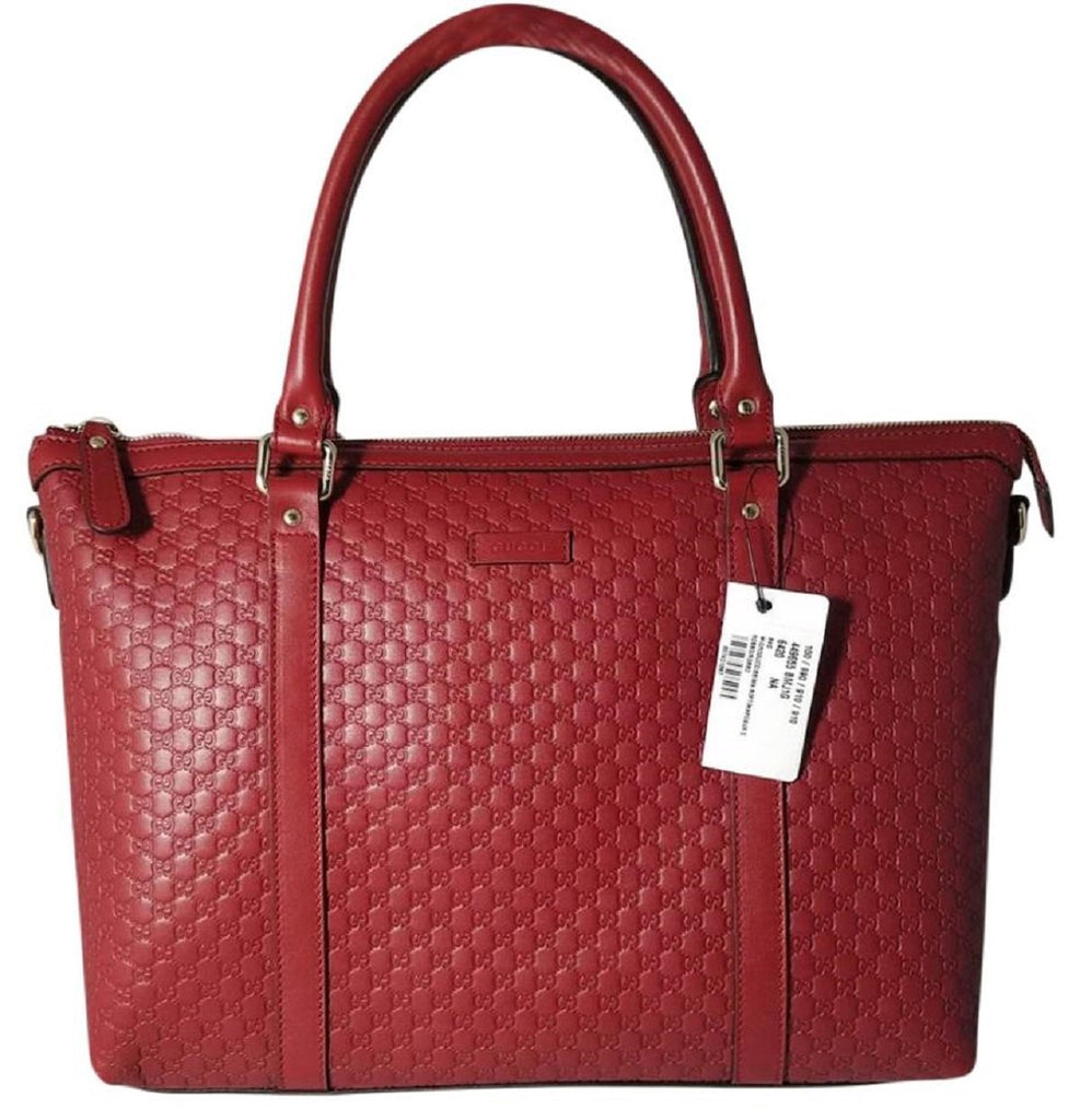 Gucci Women's Microguccissma Soft Calf Leather Red Medium Top Zip Tote 449655 at_Queen_Bee_of_Beverly_Hills