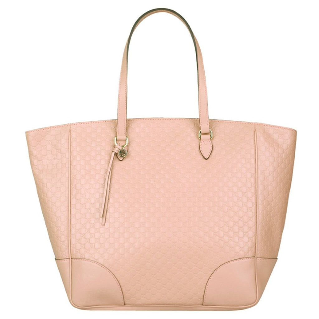 Gucci Women's Microguccissma Soft Calf Leather Soft Pink Large Top Zip Tote 449242 at_Queen_Bee_of_Beverly_Hills