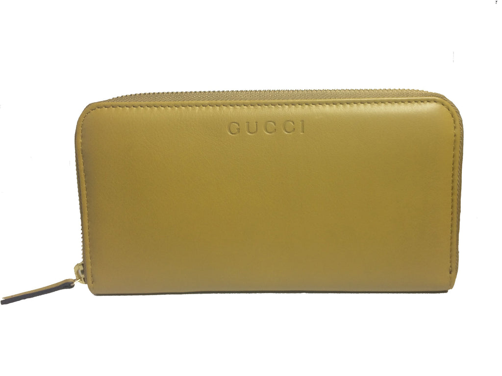 Gucci Women's Mustard Yellow Leather Zip Around Large Wallet 363423 at_Queen_Bee_of_Beverly_Hills