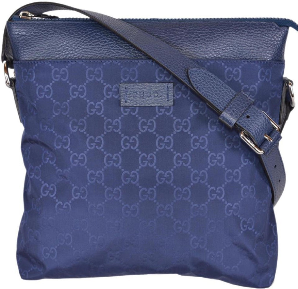 Gucci Women's Navy Blue GG Guccissima Logo Nylon Crossbody Messenger Bag 510342 at_Queen_Bee_of_Beverly_Hills