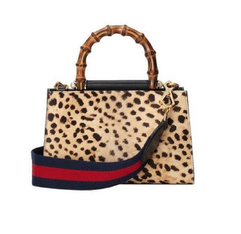 Gucci Women's Nymphaea Leopard Print Pony Hair Black Leather Large Bag 453764 at_Queen_Bee_of_Beverly_Hills