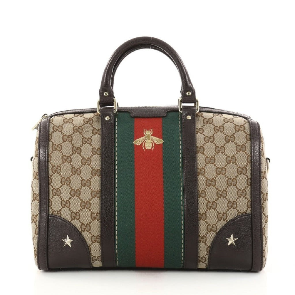 Gucci Women's Original GG Web Stripe Vintage Bee Boston 408868 at_Queen_Bee_of_Beverly_Hills