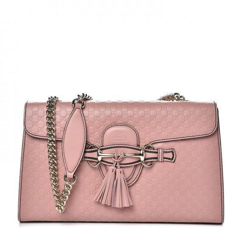 Gucci Women's Pink Emily Microguccissima Medium Leather Chain Shoulder Bag 449635 at_Queen_Bee_of_Beverly_Hills