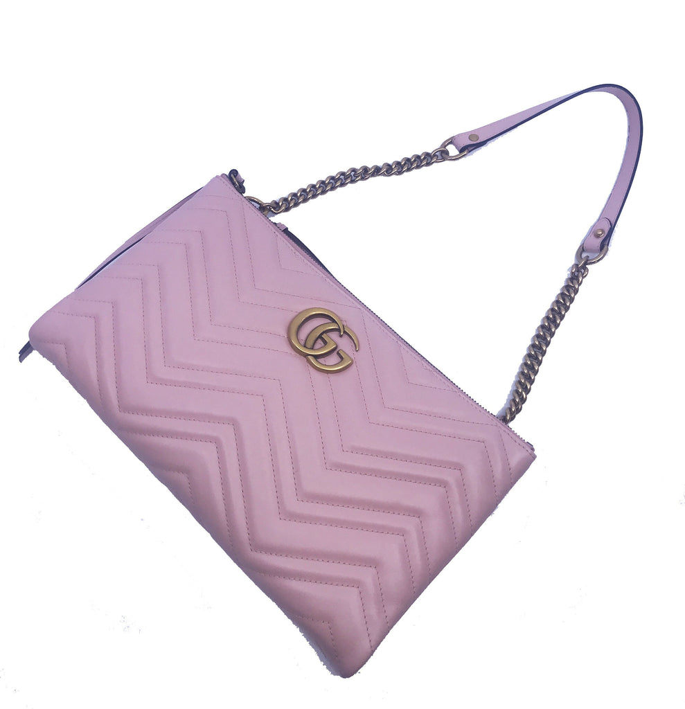 Gucci Women's Pink Leather Marmont Apollo GG Shoulder Handbag 453192 at_Queen_Bee_of_Beverly_Hills