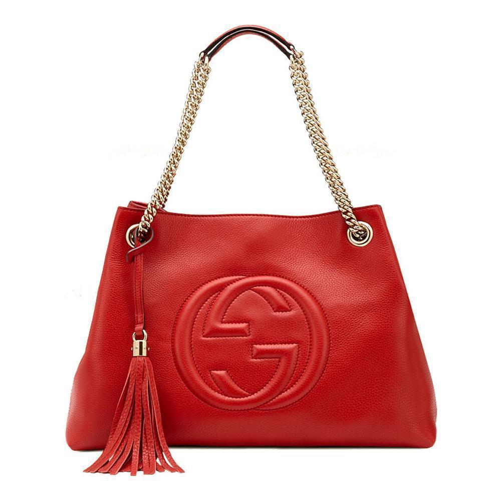 Gucci Women's Red Leather SOHO Chain Embossed GG Logo Handbag 308982 at_Queen_Bee_of_Beverly_Hills
