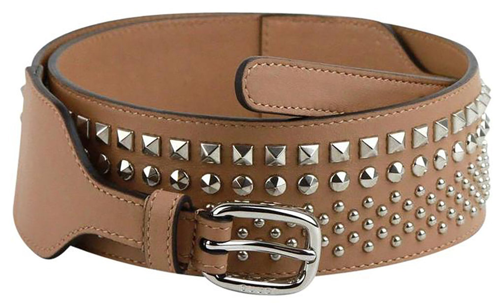 Gucci Women's Silver Studded Camelia Beige Leather Belt Size: 100/40 388985 at_Queen_Bee_of_Beverly_Hills