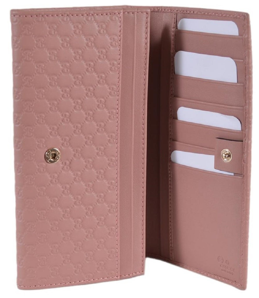 Gucci Women's Soft Pink GG Microguccissima Continental Wallet 449396 at_Queen_Bee_of_Beverly_Hills