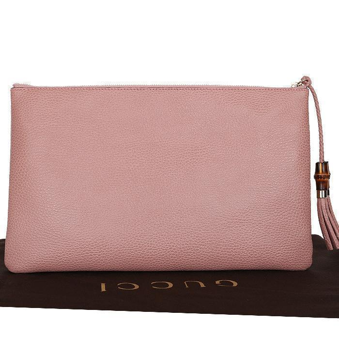 Gucci Women's Soft Pink Large Bamboo Clutch 449653 at_Queen_Bee_of_Beverly_Hills