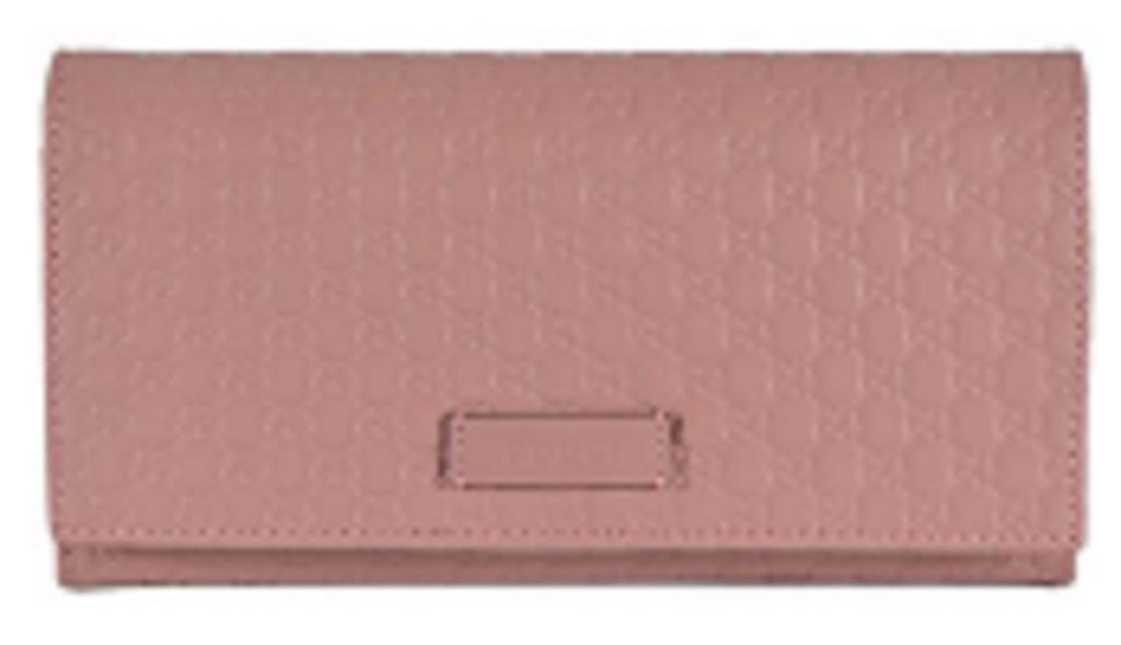 Gucci Women's Soft Pink Microguccissima Continental Flap Wallet 449396 at_Queen_Bee_of_Beverly_Hills