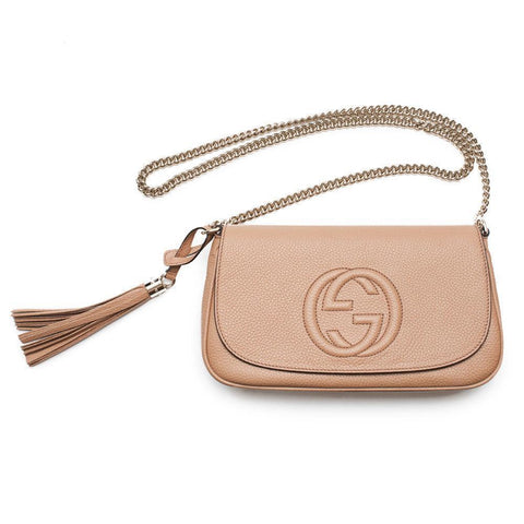 Gucci Women's Soho Disco Camelia Beige GG Chain Cross Body 536224 at_Queen_Bee_of_Beverly_Hills