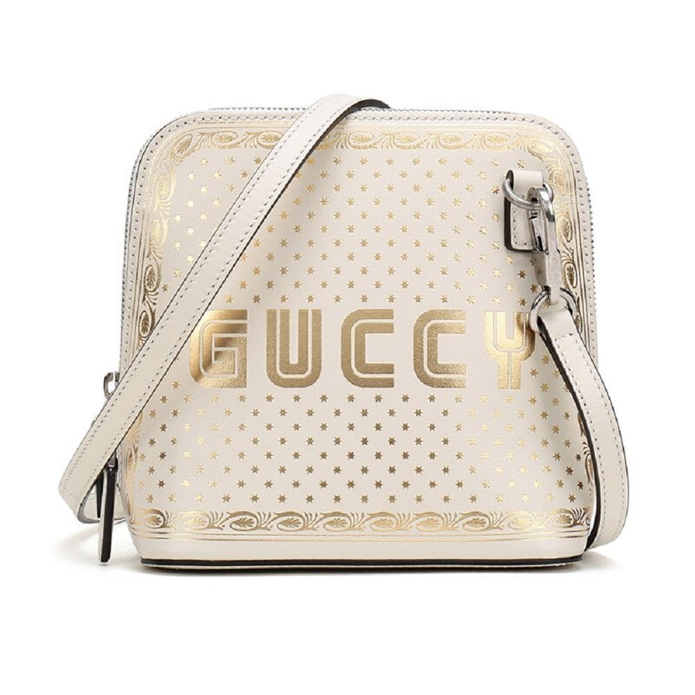 Gucci Women's White GUCCY Sega Script Dome Mini Crossbody Bag 511189 1055 at_Queen_Bee_of_Beverly_Hills