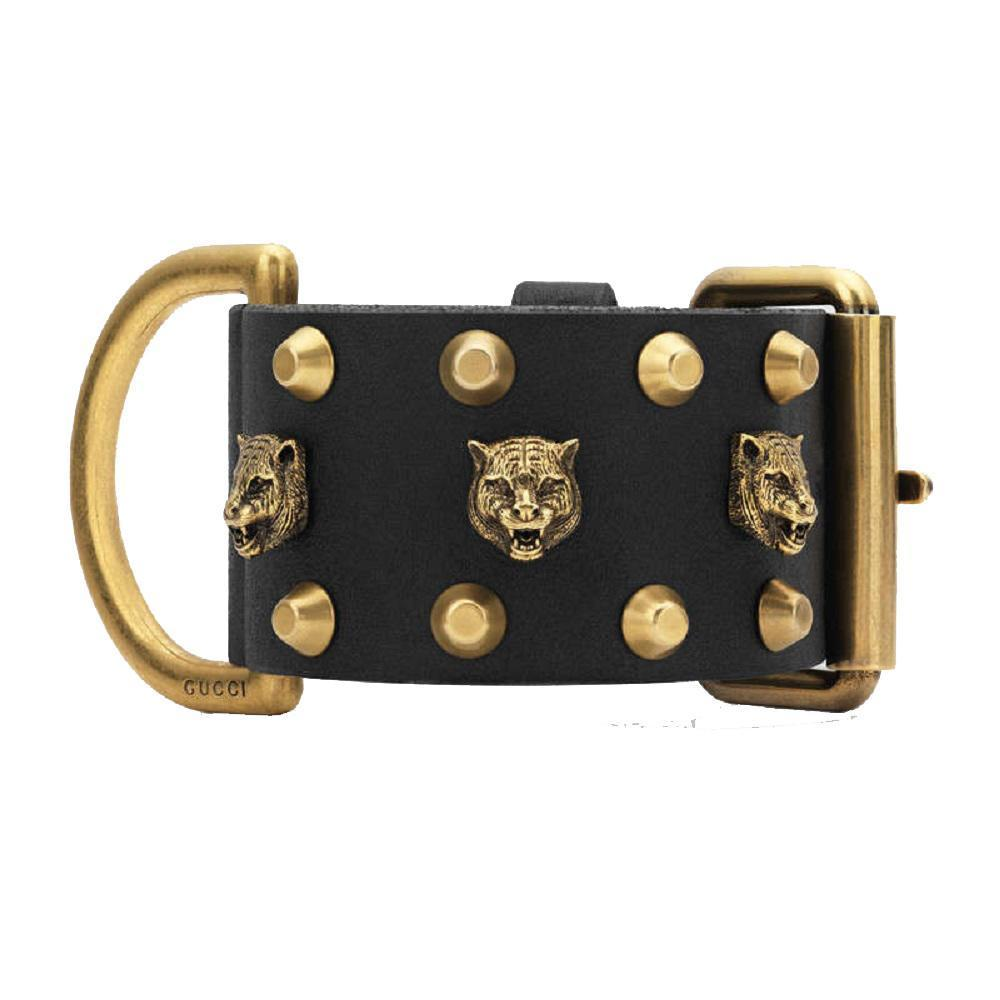 Gucci Womens Black Gold Buckle Pelle Toscano Tiger Leather Cuff Bracelet 477034 at_Queen_Bee_of_Beverly_Hills