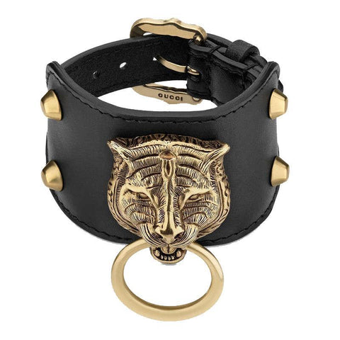 Gucci Womens Black Gold Feline Head Pelle Toscano Leather Cuff Bracelet 504036 at_Queen_Bee_of_Beverly_Hills