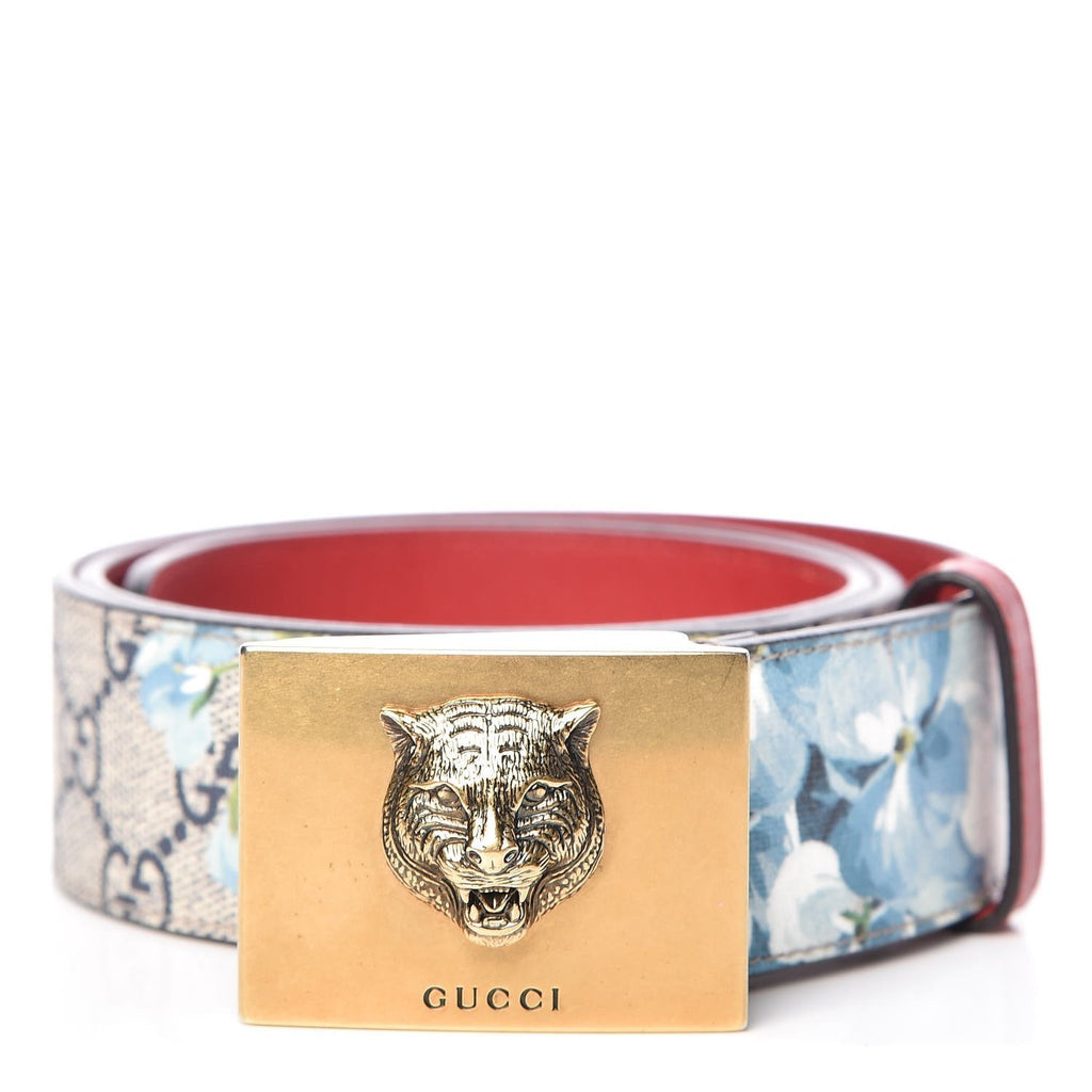 Gucci Womens Blooms GG Canvas Leather Tiger Head Buckle Belt 80/32 546384 at_Queen_Bee_of_Beverly_Hills
