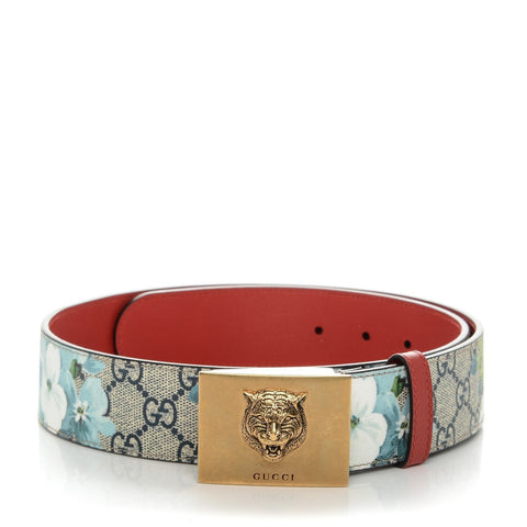 Gucci Womens Blooms GG Canvas Leather Tiger Head Buckle Belt 90/36 546384 at_Queen_Bee_of_Beverly_Hills