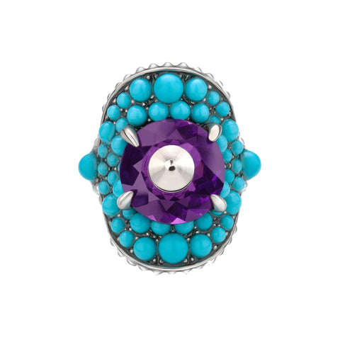 Gucci Womens Blue/Purple Swarovski Crystal Ring 425407 Size 10 at_Queen_Bee_of_Beverly_Hills