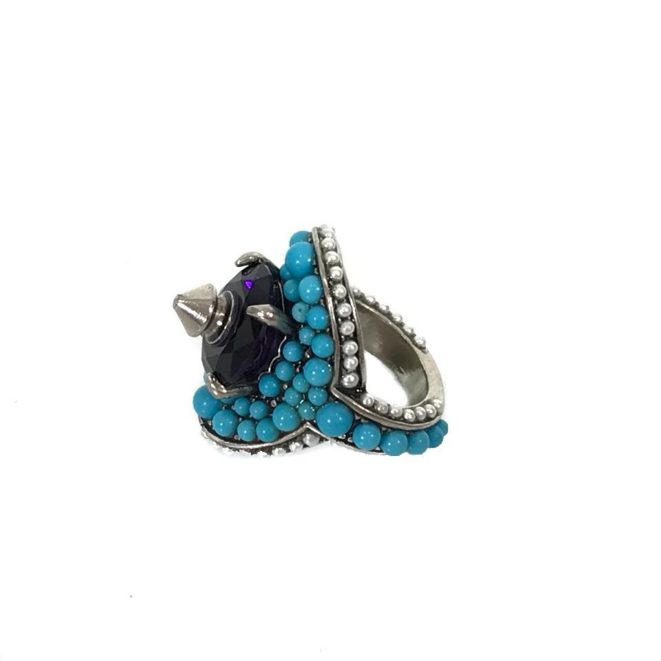 Gucci Womens Blue/Purple Swarovski Crystal Ring 425407 US Size 5 at_Queen_Bee_of_Beverly_Hills