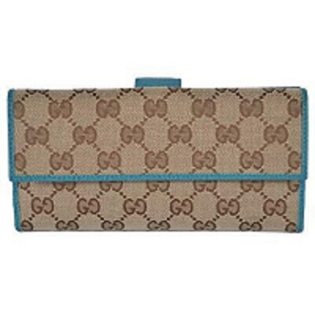 Gucci Womens Canvas GG Logo Wallet With Deep Cobalt Leather Trim 231841 at_Queen_Bee_of_Beverly_Hills